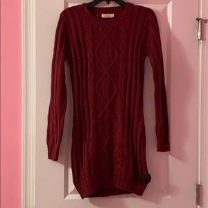 Elan Wine Ribbed Cable Knit Sweater Dress